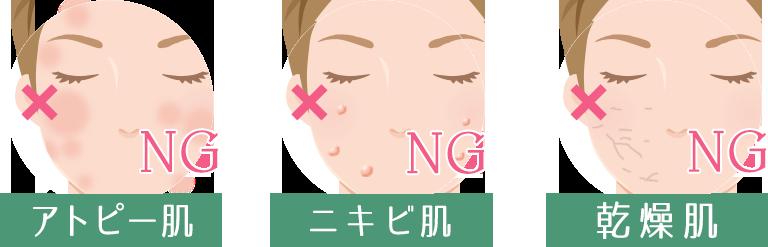 アトピー肌、ニキビ肌、乾燥肌